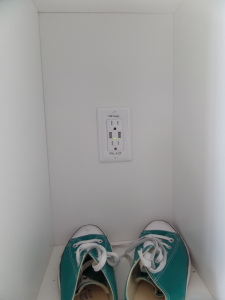 Speaking of electronic, why yes, that IS an outlet to charge your phone inside the locker while you are getting your sweat on!