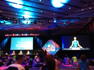 Tara Stiles led one of the showcase workouts and BlogFest attendees got their yoga on--complete with mats from Reebok