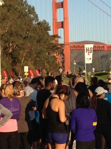 Running is very popular in the Presidio, Chrissy Field, and oh yeah, we have a bridge. (Picture of the starting line for Run 10 Feed 10 2014)