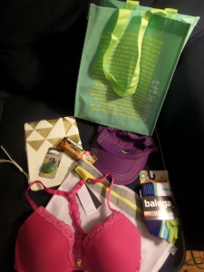 Bag of goodies! Adorable blinky light on the cute makeup bag from Moving Comfort.