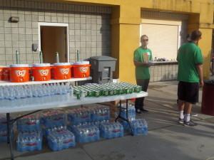 Hydration station, pre-race