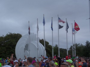 Rain clouds and wind at the Veteran's Memorial (aka group photo meet-up spot for every running group)