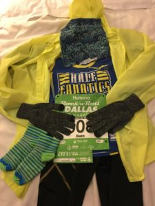 Flat Bain for the half marathon--note the long pants, long sleeves, and gloves!