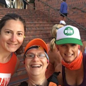 Members of the BibRave Pro team goofing around pre-race. (You can tell which one of us is the old lady who hasn't mastered selfies.)