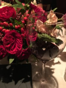 wine glass with roses