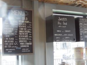 Oak Lawn Coffee menu board