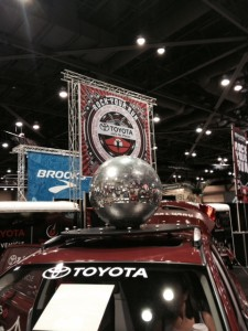 Why yes, that is a giant, spinning disco ball. Didn't you see one at your last race expo?