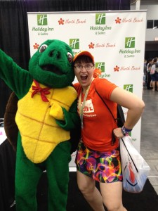 Gratuitous shot of me with a turtle mascot. (Seemed appropriate, since I ran with a group called the Running Turtles.)