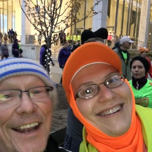 Sporting my BibRave orange at the Detroit Turkey Trot.