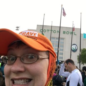 Cotton Bowl selfie. Yes, I wore my Buff over my head, neck, and ears for the whole race.