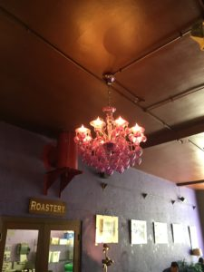 Chandelier and purple wall!