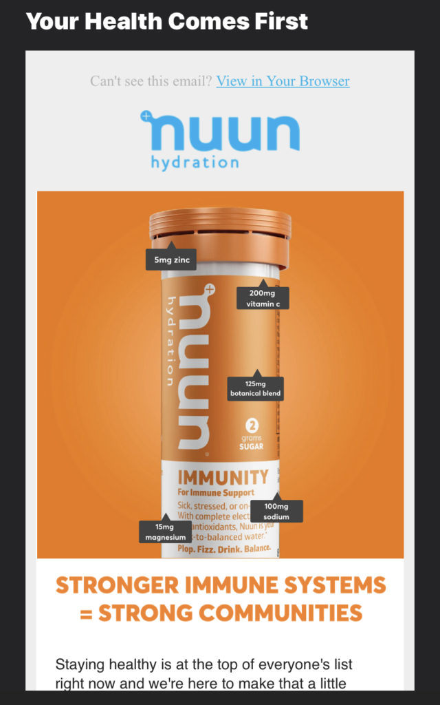 "Screen capture photo of an email add for nuun's ""Immunity"" product"