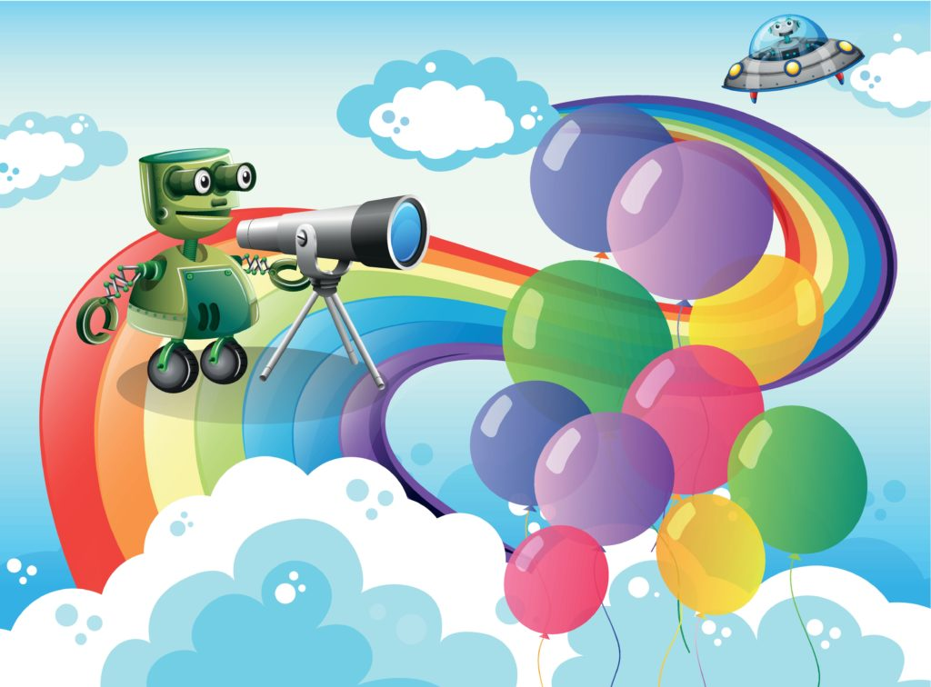 Robot on a rainbow with balloons