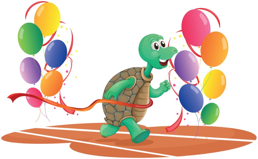 Turtle crossing balloons