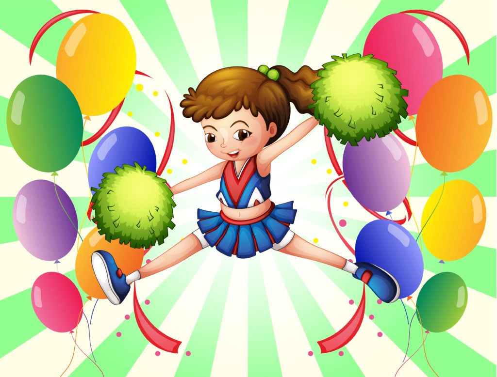 Cheerleader and balloons